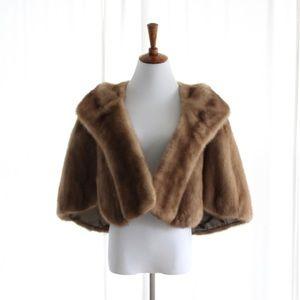 50s Vtg Mink Fur Stole Luxury Genuine Small